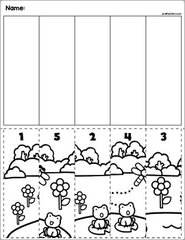 Spring Fun Cut & Match Worksheets | Numbers 1-5