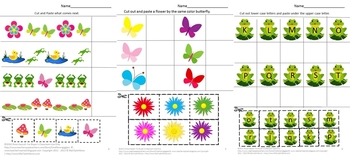 Spring Math and Literacy Activities, Kindergarten Cut and Paste Worksheets