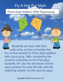 Spring Fun: Fly A Kite For Math (Three Digit Addition With Regrouping)