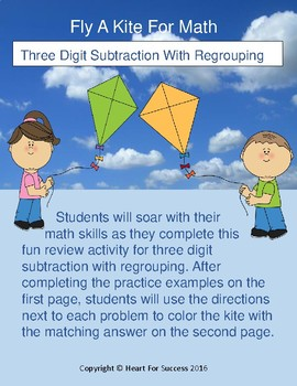 Spring Fun: Fly A Kite For Math (Three Digit Subtraction With Regrouping)