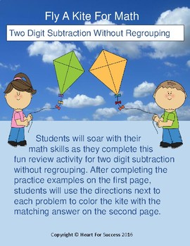 Spring Fun: Fly A Kite For Math (Two Digit Subtraction Without Regrouping)