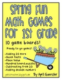 Spring Fun Math Games for 1st Grade - Ten April and May bo