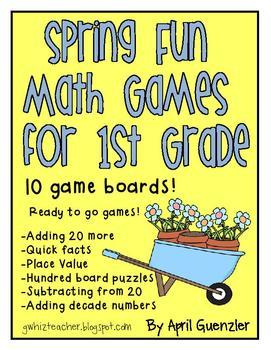 Spring Fun Math Games for 1st Grade - Ten April and May bo