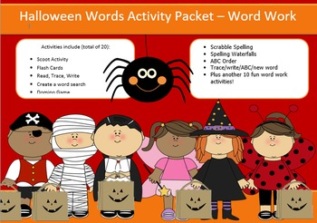 Halloween Word Work Packet – 10 words, no prep spelling packet, 50+ pages