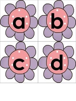Spring Funky Flowers Alphabet Match
