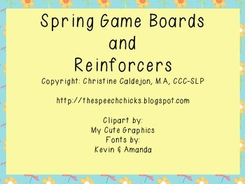 Spring Game Boards & Reinforcer Pages