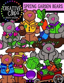 Spring Garden Bears {Creative Clips Digital Clipart}