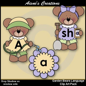 Spring Garden Bears Language Clip Art Pack