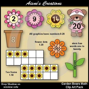 Spring Garden Bears Math Clip Art Pack