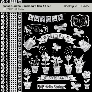 Spring Garden Chalkboard Clip Art Set