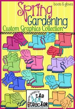 Spring Garden Clip Art: Garden Boots & Gloves