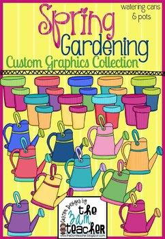 Spring Garden Clip Art: Pots & Watering Cans