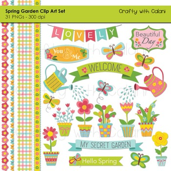 Spring Garden Clip Art Set in Fresh Pastel Color