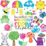 Spring Garden Clipart Watercolor