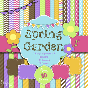 Spring Garden~ Digital paper, banners, and frames!