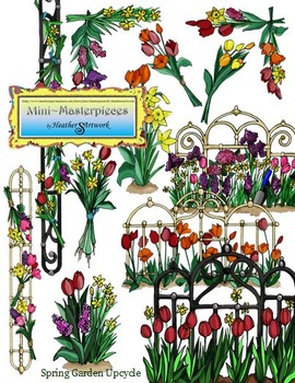 Clipart: Spring Garden Flower Recycle Upcycle by HeatherSArtwork