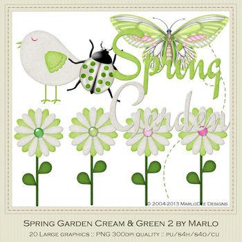 Spring Garden Green 2 Bird Ladybug Butterflies Flowers & Word Art