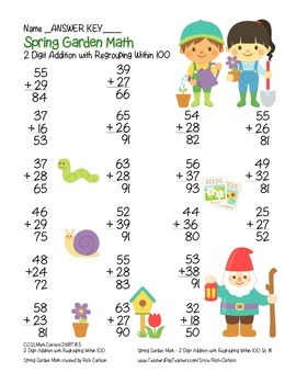 """Spring Garden Math"" 2 Digit Addition Regrouping - Common Core (color&blackline)"