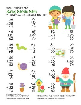 """Spring Garden Math"" 2 Digit Addition With Regrouping - Common Core! (color)"