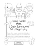 """Spring Garden Math"" 2 Digit Subtraction Regrouping Common Core! (black line)"