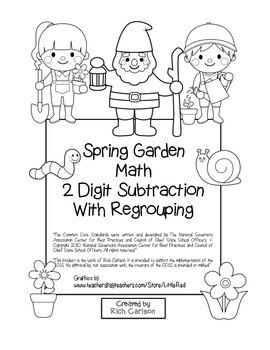 """""""Spring Garden Math"""" 2 Digit Subtraction Regrouping Common Core! (black line)"""