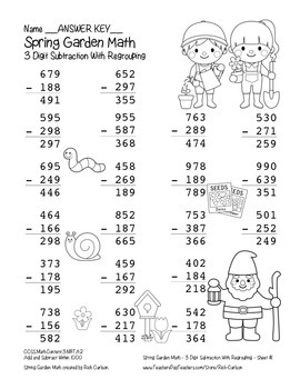 """""""Spring Garden Math"""" 3 Digit Subtraction Regrouping  - Common Core (black line)"""