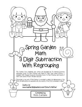 """Spring Garden Math"" 3 Digit Subtraction Regrouping  - Com"