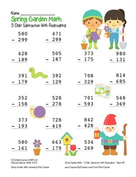 """Spring Garden Math"" 3 Digit  Subtraction Regrouping  - Common Core (color)"