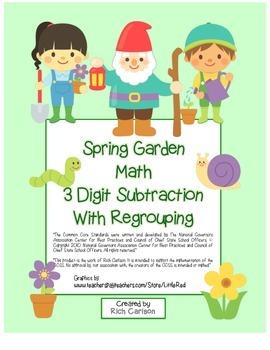 Spring Garden Math 3 Digit  Subtraction Regrouping (color&blackline)