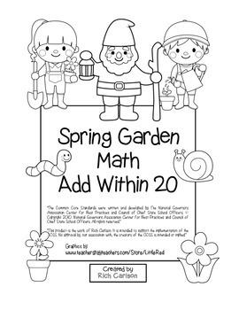 """Spring Garden Math"" Add Within 20 - Common Core - Addition Fun! (black line)"