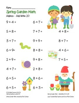 """""""Spring Garden Math"""" Add Within 20 - Common Core - Addition Fun! (color )"""