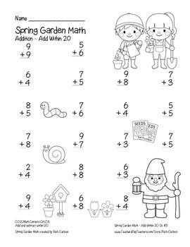 """Spring Garden Math"" Add Within 20 - Common Core - Fun! (color & black line)"