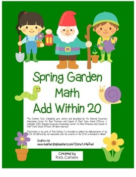 """Spring Garden Math"" Add Within 20 - Common Core - Fun! (c"