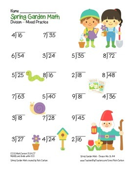 """Spring Garden Math"" Mixed Division –Common Core - Division Fun! (color)"