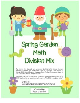 """Spring Garden Math"" Mixed Division –Common Core - Fun! (b"