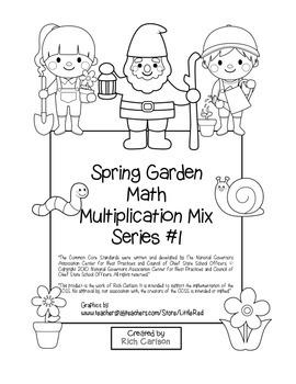 """""""Spring Garden Math"""" Mixed Multiplication – #1 - Common Core - Fun! (black line)"""