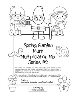 """Spring Garden Math"" Mixed Multiplication –  #2 - Common Core -Fun! (black line)"