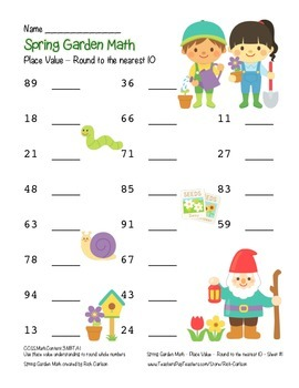"""Spring Garden Math"" Place Value – Round Nearest 10 Within 100 (color&blackline)"