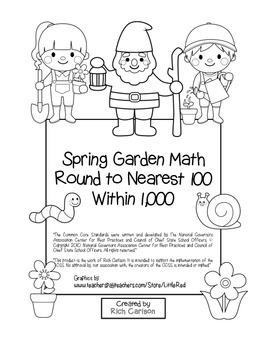 """""""Spring Garden Math"""" Place Value – Round Nearest 100 Within 1,000 (black line)"""