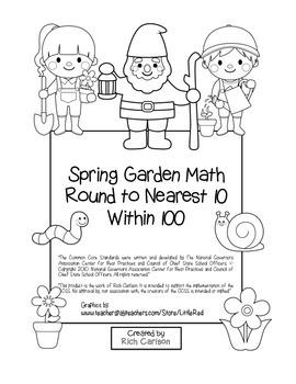 """Spring Garden Math"" Place Value – Round to Nearest 10 Within 100  (black line)"