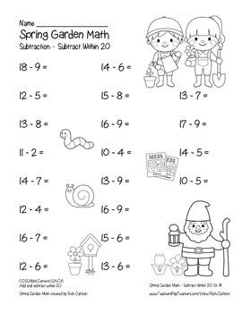 """Spring Garden Math"" Subtract Within 20 - Common Core - Fun! (black line)"