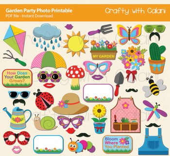 Spring Garden Party Photo Booth Props Printable - 42 Ready To Print Images