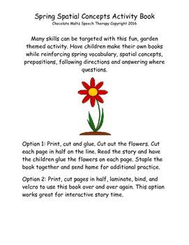 Spring Garden Spatial Concepts Activity Book