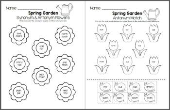 Spring Garden - Synonym and Antonym Grammar Pack