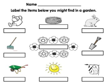 Spring Garden Writing Labeling Activity
