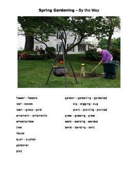 Spring Gardening - By the Way ESOL prompt, sub plans