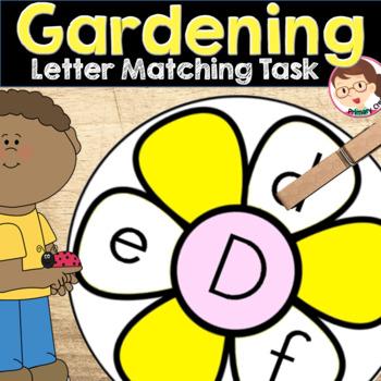 Spring Gardening Letter Match for Preschool and PreKinder