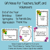 Spring Gift Notes for Teachers or Support Staff