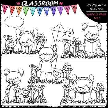 Spring Girls - Clip Art & B&W Set