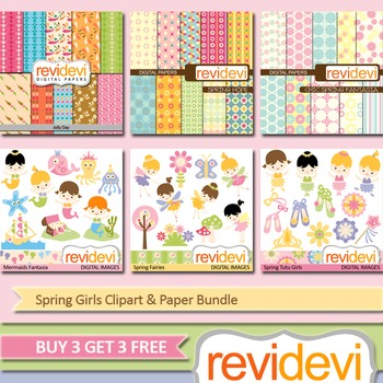 Spring Girls Clip art (6 packs) mermaids, fairies, ballerina